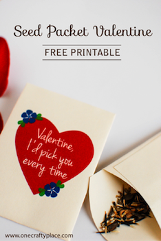 One Crafty Place seed packet valentine printable