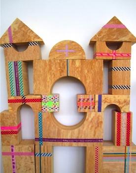 Meri Cherry decorating wood blocks with washi tape