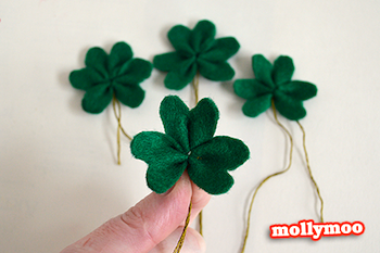 Molly Moo felt shamrock pins for St. Patrick's day craft