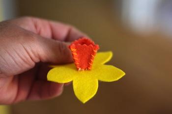 felt daffodil corsage pin brooch