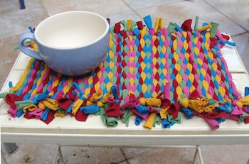 old t-shirts woven into placemats