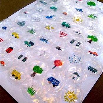 bubble wrap turned into a travel bingo game