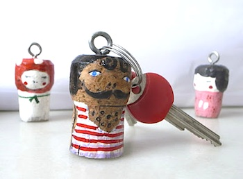 painted corks made into keychains