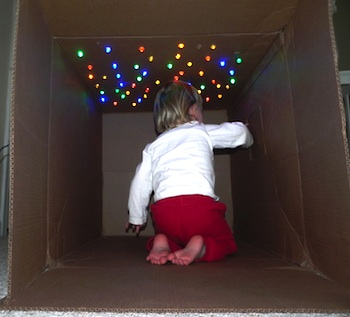 cardboard box craft cave with stars