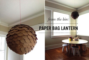 recycled paper grocery bag lantern