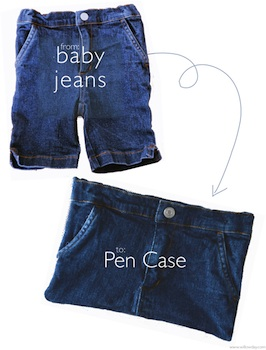 pen case from recycled baby jeans