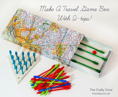 The Crafty Crow travel game box made with Q-tips