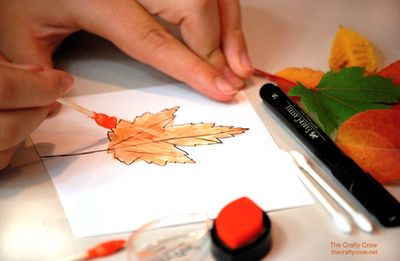The Crafty Crow painting autumn leaves 4