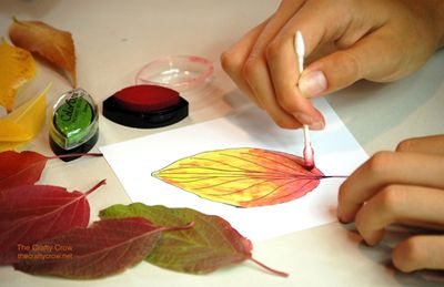 The Crafty Crow painting autumn leaves 5