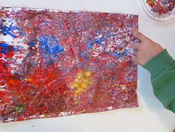 Teach Preschool abstract painting with acorns preschool art craft