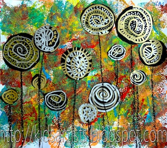 Kids Artists lollipop trees art lesson