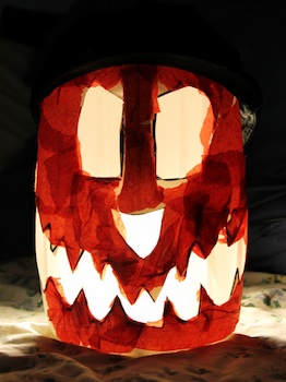 Creative Learning plastic jug lanterns halloween craft