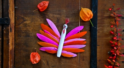 clothespin and feather turkey