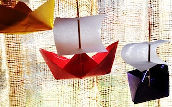 origami sailing ship banner for thanksgiving