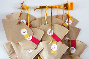 easy and quick advent calendar made from coffee filters