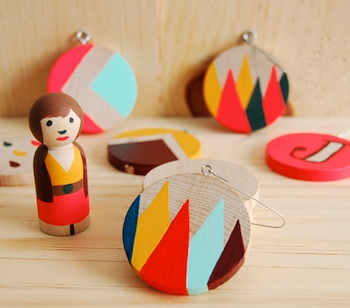 hand painted wood shapes ornaments