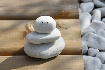 stacked stone snowman