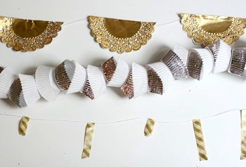 ideas for new year's eve garlands cupcake liner doilies washi tape