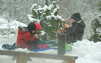 winter picnic kids in the snow