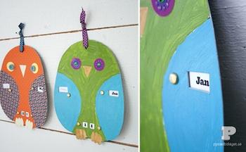 diy homemade calendar owl
