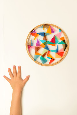 colored cellophane and embroidery hoop sun catcher