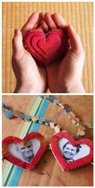 recycled cardboard heart locket craft