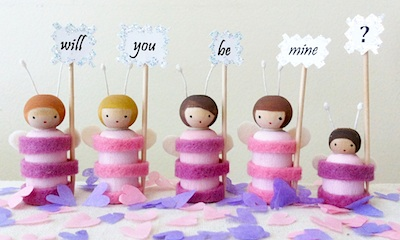 Making Peg Dolls love bugs peg dolls will you be mine signs