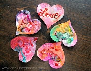 watercolor batik with glue and salt valentines
