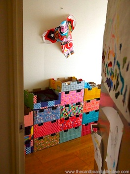 The Cardboard Collective stacked cardboard crate dresser for kids
