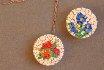 Pink Stripey Socks eggshell mosaic pendant