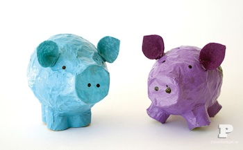 recycled newspaper papier mache pigs