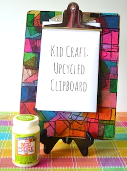upcycled clip board for kids craft