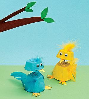 Parents egg carton craft spring chicks