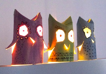 toilet paper roll craft owl lights lantern