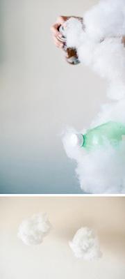 plastic bottle craft cotton batting clouds