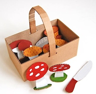 cardboard craft mushrooms and basket