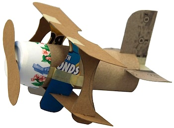 recycled craft for kids mini bi-plane