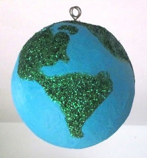 Mama's Little Muse earth day crafts glitter paper mache earth