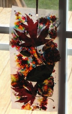Ramblings Of A Crazy Woman fall leaf sun catcher craft