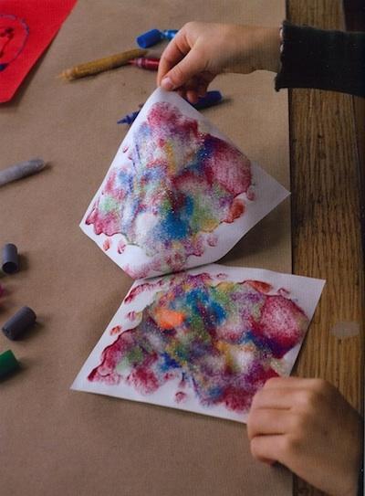 Side by Side glitter glue monoprints tutorial 1