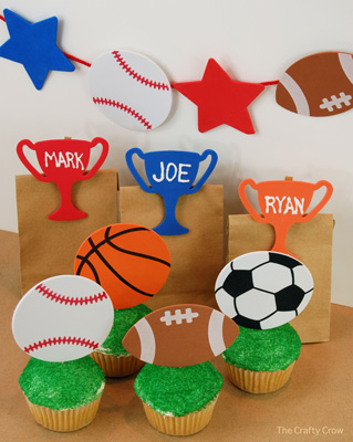 The Crafty Crow sports party decorations and favor ideas