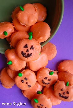 Wine And Glue peanut butter pretzel pumpkins