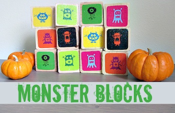 No Time For Flashcards monster blocks memory game halloween craft