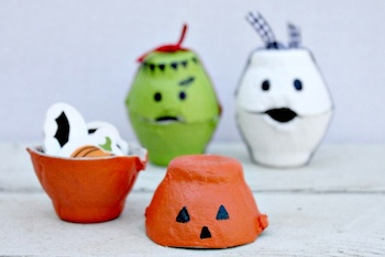 Centsible Life egg carton treat boxes halloween craft party idea