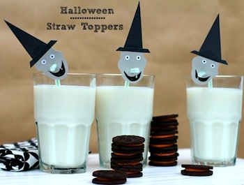 Classic Play halloween witch straw toppers party idea
