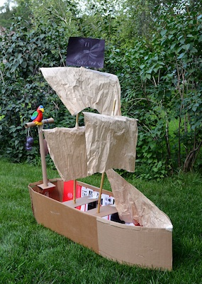 cardboard box pirate ship recycling craft
