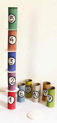 toilet paper tube tower of numbers recycling craft