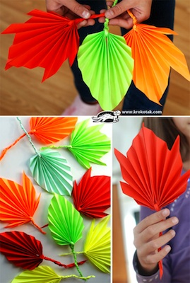 folded paper fall leaves paper craft