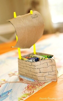 thanksgiving craft mayflower crayon holder thanksgiving table idea