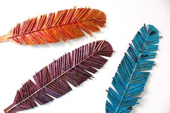 MADE spaghetti box feathers craft
